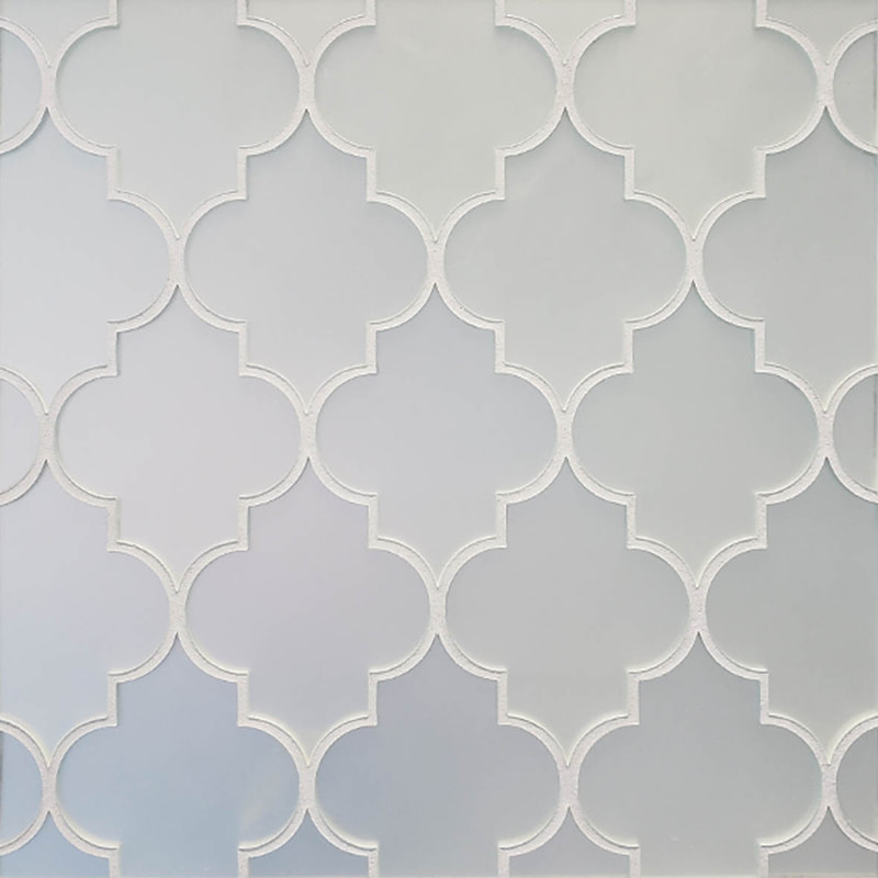 Arabesque style tile. matte mirror glass mosaic. Quadrefoil tile design