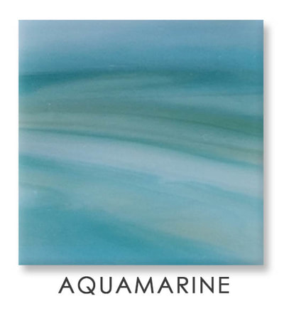 Aquamarine Art Glass Color, Yellow Color, Two Color Mix, Blue Color, Turquoise Color, Art Glass Tiles, Art Glass Mosaic Collection, Tiles