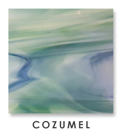 Cozumel Art Glass Color, Green Color, Two Color Mix, Blue Color, Warm Color, Art Glass Tiles, Art Glass Mosaic Collection, Tiles