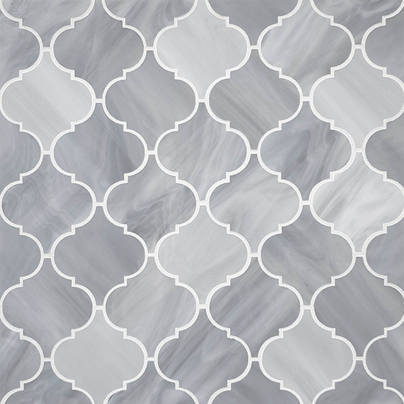 Arabesque style gray glass tile. Quadrefoil tile design