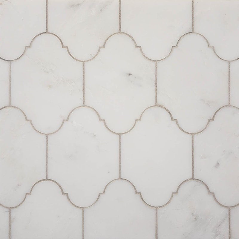 French Provincial style tile in white marble.