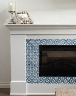Custom cut, decorative fireplace tile. Modern and artistic tile.