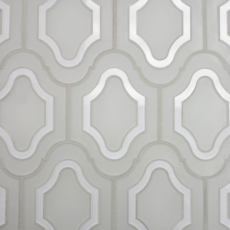 French Provincial style tile. back painted glass tile in two colors.