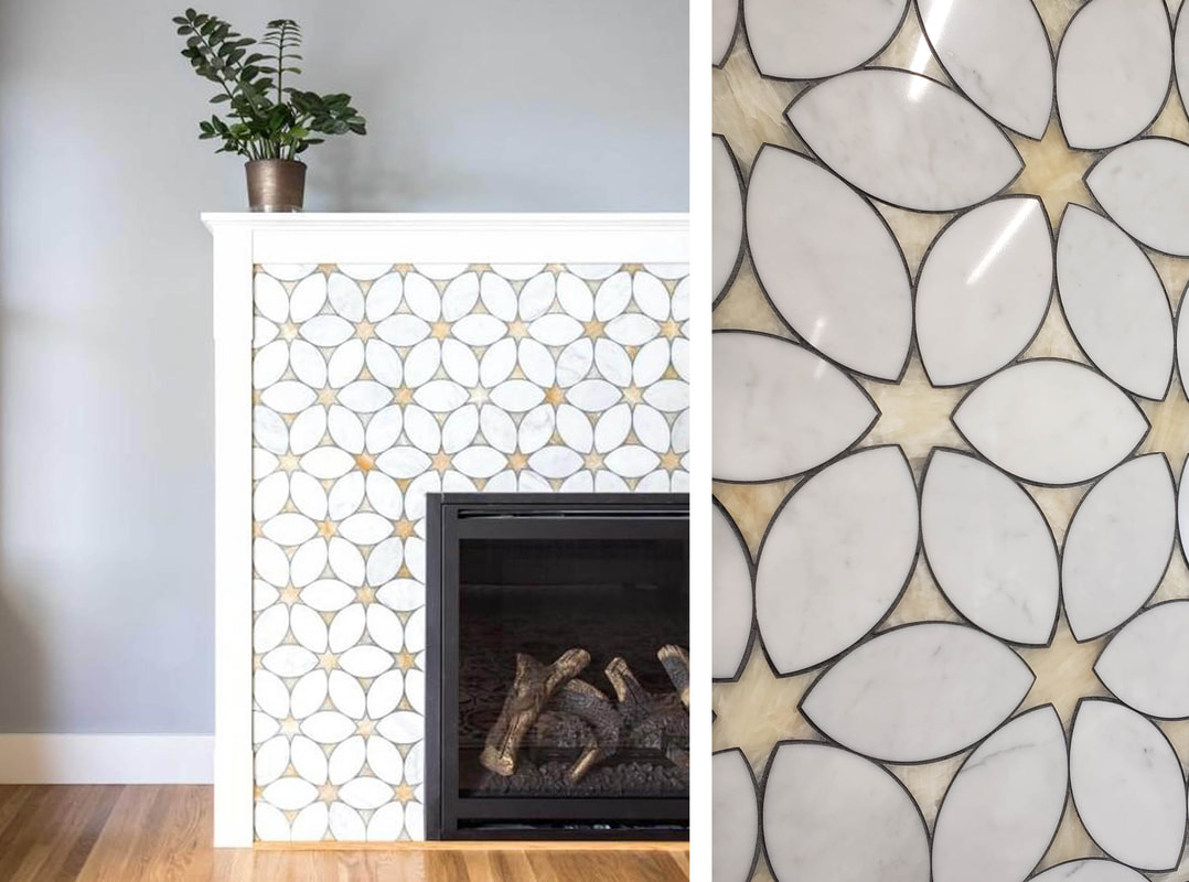 Floral stone mosaic in white marble and honey onyx.  FIreplace surround.
