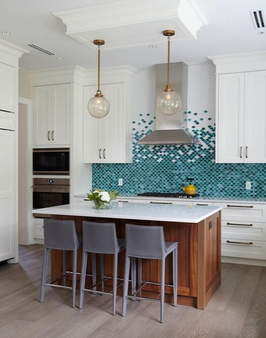 Kitchen backsplash, gradient, colourful blend of glass tile in white, gree and blue
