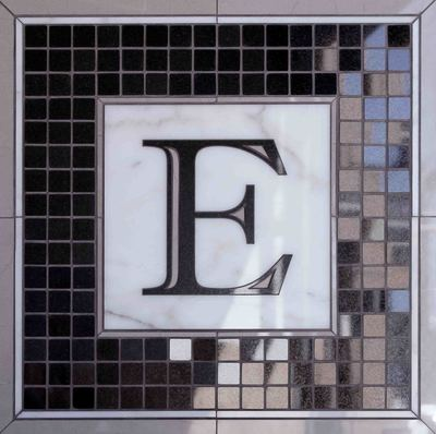 Custom floor feature, mixed media tile, wood tile, stone tile, marble tile, floor inlay, floor medallion, commercial wall medallion