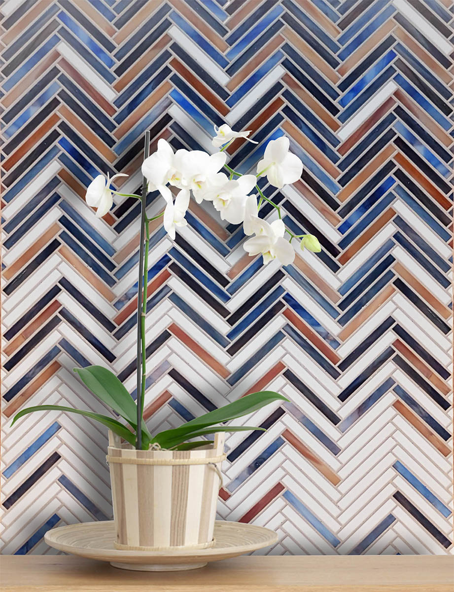 Herringbone art glass mosaic in white, blue and brown tones.