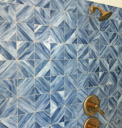 Bathroom tile, Shower tile, custom tile, art glass tile, minimal bathroom tile, glass tile, modern tile, Pivot pattern