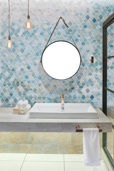Bathroom tile, backsplash tile, custom tile, art glass tile, modern bathroom, Siraj tile, glass tile, modern tile, blue tile, green tile, rustic tile, colour blend, color blend