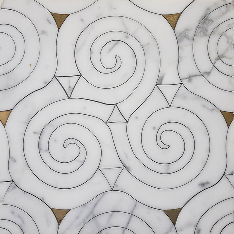 Spiral shaped Calacatta marble mosaic inlaid with brass