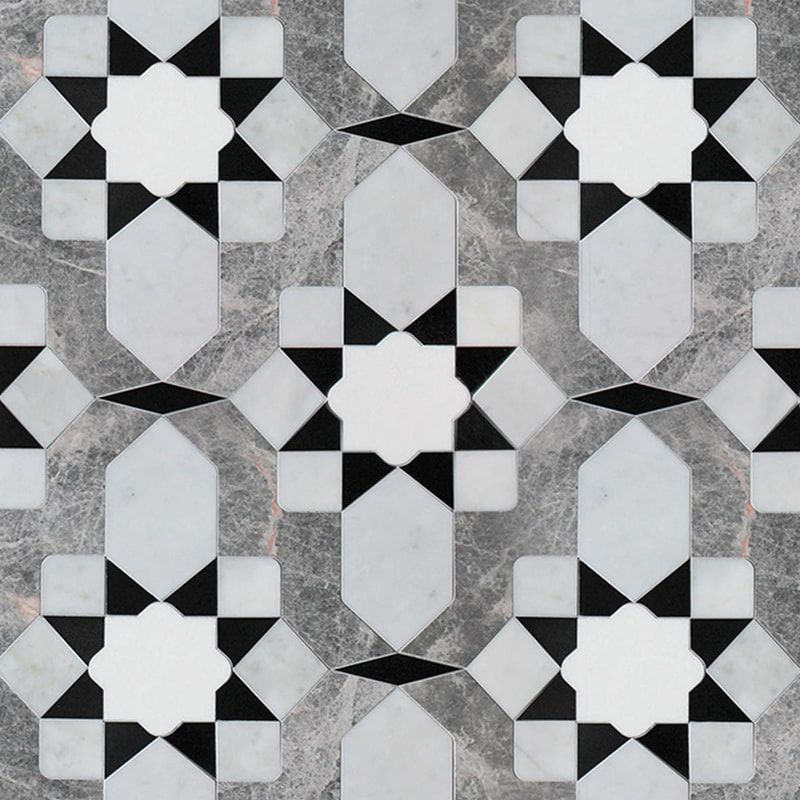 Custom geometric stone pattern in 4 different marble colors.