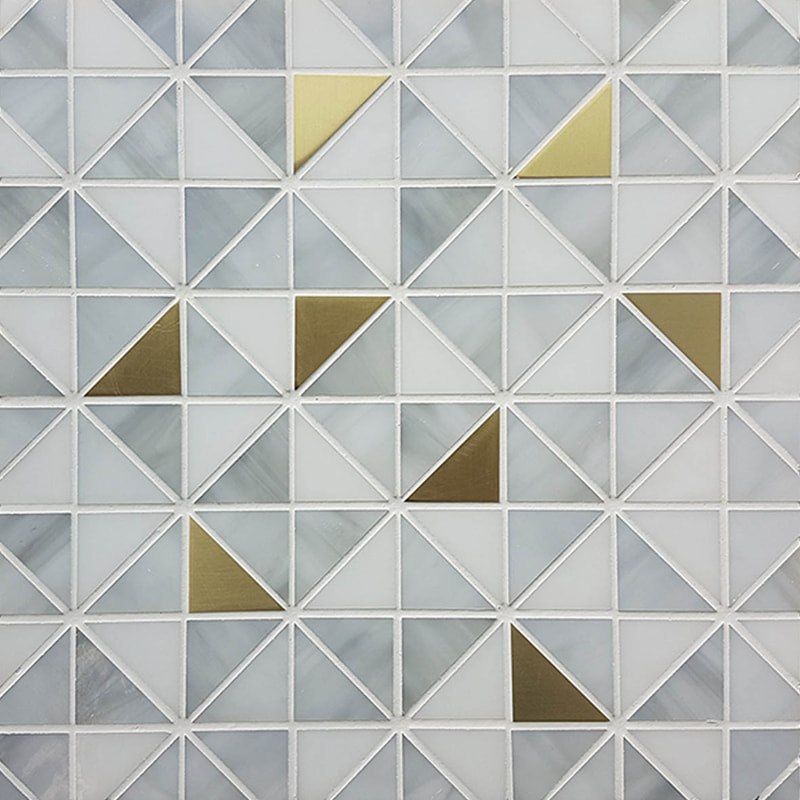 Gray art deco glass mosaic inlaid with brass