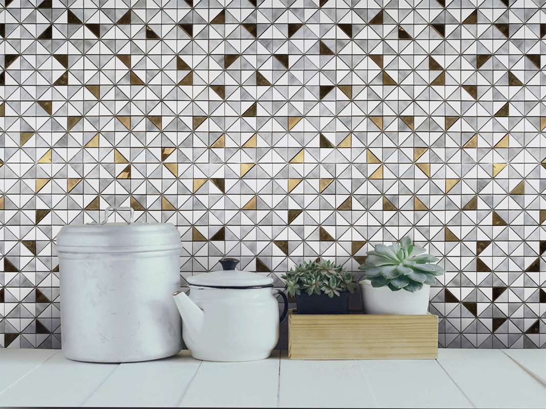 Small and versatile geometric art glass mosaic  in white and gray, inlaid with brass.  Kitchen backsplash.
